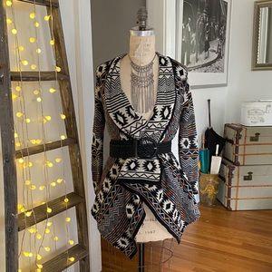 Xhilararion South West/boho drape front cardigan